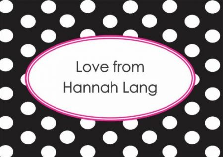 Dots oval centre pink border