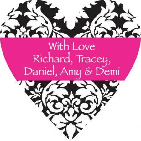 Heart damasc pink stripe