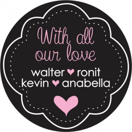 Chalkboard round pink heart names
