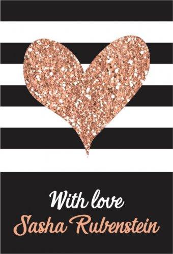 Rose gold heart on stripes