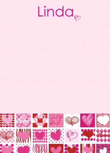 Hearts pinks & reds on pink