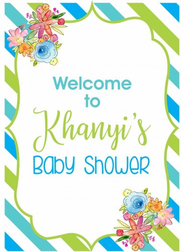 Baby shower welcome stripes