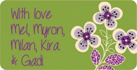 Flowers purple on green