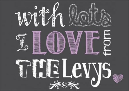 Chalkboard with lots of love lilac