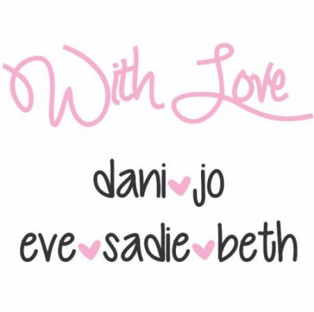 With love square black & pink on white