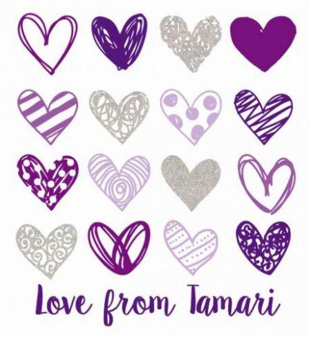 Glitter hearts purples