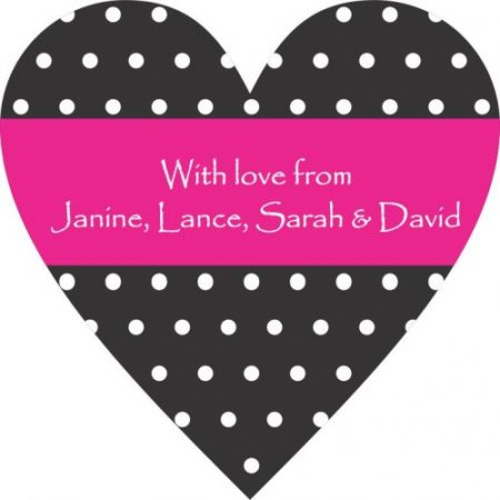 Heart polka dots black & white with pink
