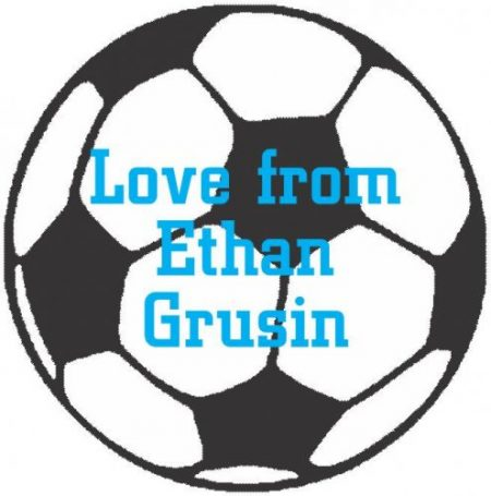 Soccer ball shapie blue text