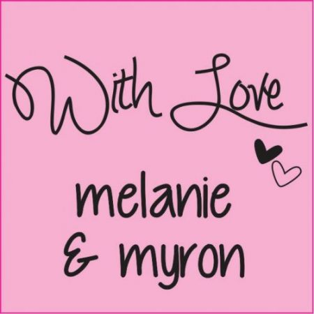 With love  square black on pink