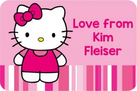 Kitty on pink stripes